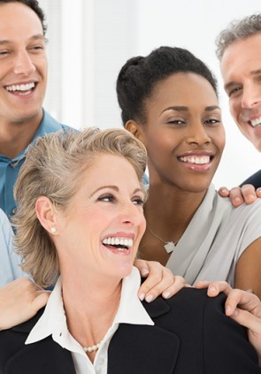 Multi Ethnic Teamwork Laughing And Exult