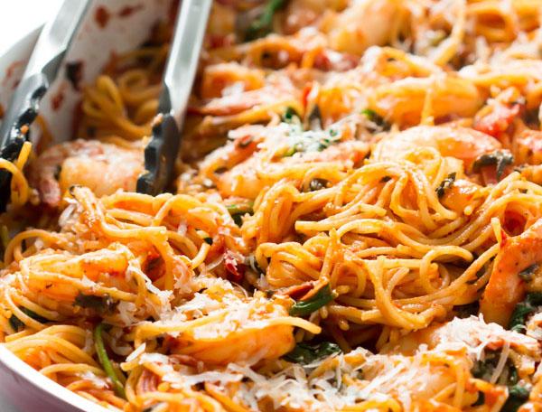 Shrimp Quinoa Spaghetti